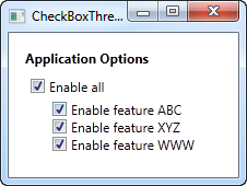 A three state CheckBox control in the checked state