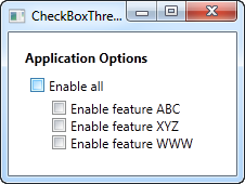 A three state CheckBox control in the unchecked state
