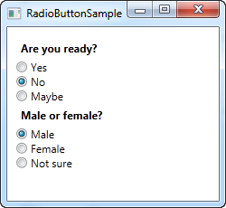 Two groups of radio buttons using the GroupName property