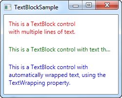 A TextBlock control showing several ways to deal with long strings