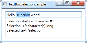 A TextBox control with selection status