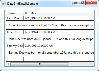 DataGrid with row details - The complete WPF tutorial