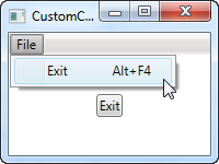 An interface using a custom WPF command