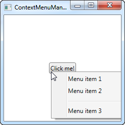 A manually invoked ContextMenu