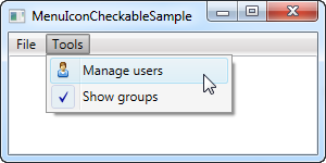 A WPF Menu control with checkable items and icons
