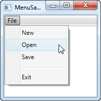 A simple WPF Menu sample