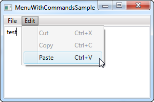 A WPF Menu using commands