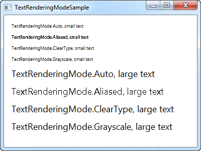 Using the TextRenderingMode property