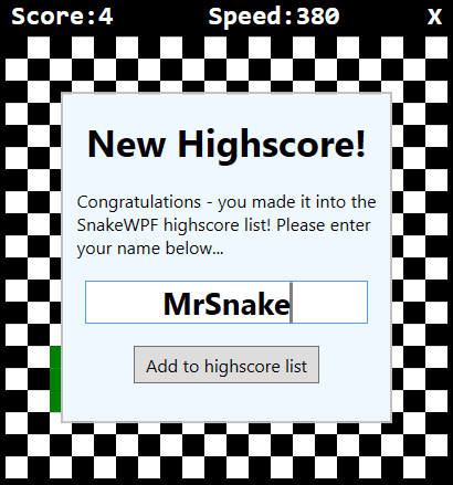 Improving SnakeWPF: Adding a high score list - The complete