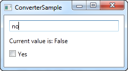Using an IValueConverter, here with a value that converts to false