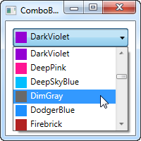 A ComboBox control using data binding