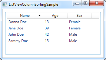 A ListView with column sorting