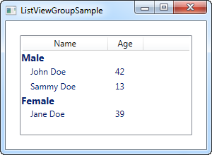 A ListView with items divided into groups