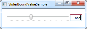 A simple Slider control using data binding, with validation as an added bonus