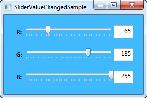 An example with multiple Slider controls, using the ValueChanged event