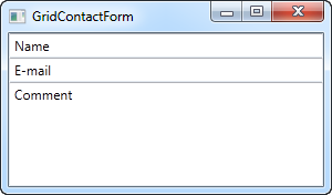 A simple contact form using the Grid