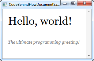 A FlowDocument created from Code-behind and displayed in a FlowDocumentScrollViewer