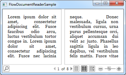 A FlowDocumentReader using the two-page mode