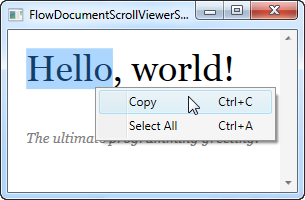 A FlowDocumentScrollViewer showing the right-click options