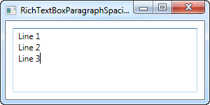 A RichTextBox with paragraph spacing reset to zero