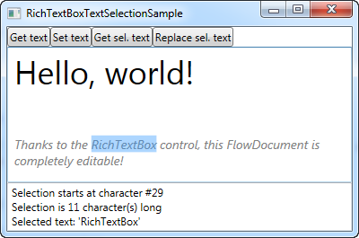 A RichTextBox example with text and selection related functionality