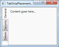 A TabControl with the tabs placed to the left