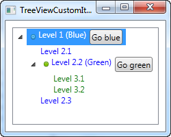 A TreeView control with items defined in the markup, using the Header property for custom content like images