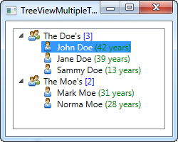A more complex TreeView control, using data binding with several templates