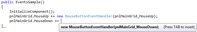 Visual Studio helping to create a new Code-behind event handler